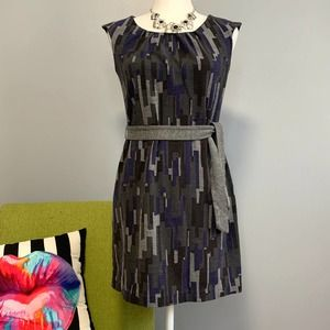 Banana Republic Grey Geometric Mini Sheath Dress